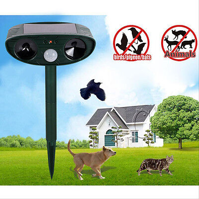 Solar Power Animal Repeller Ultrasonic Signals Bird Mouse Expeller Outdoor Green