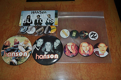 Lot of 3 sets of Hanson Buttons Pins! Middle of Nowhere, Album, Use Your Sole!