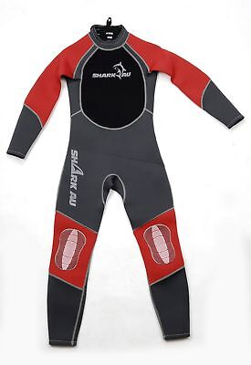 Kids SHARKAU Fullbody Wetsuit 3MM In Grey/Red SZ 6-14