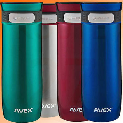 Avex Thermal Travel Mug Flask Bottle Leakproof Autoseal Red Silver Blue Green