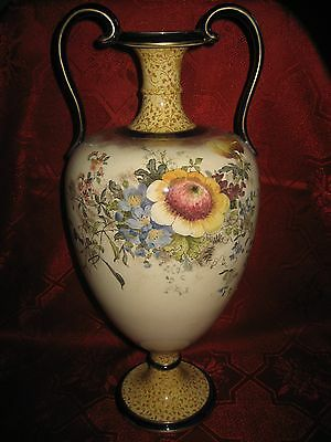 Antique Doulton Burslem Large Floral  Two-Handled Vase / Urn  c.1892-1902