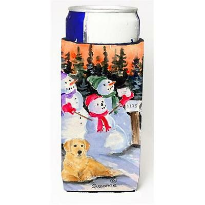 Snowman With Golden Retriever Michelob Ultra bottle sleeve for Slim Can