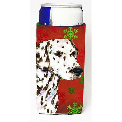 Dalmatian Red And Green Snowflakes Holiday Christmas Michelob Ultra bottle sl...