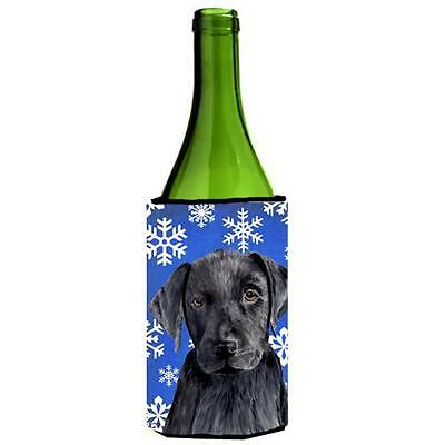 Labrador Winter Snowflakes Holiday Wine bottle sleeve Hugger 24 oz.