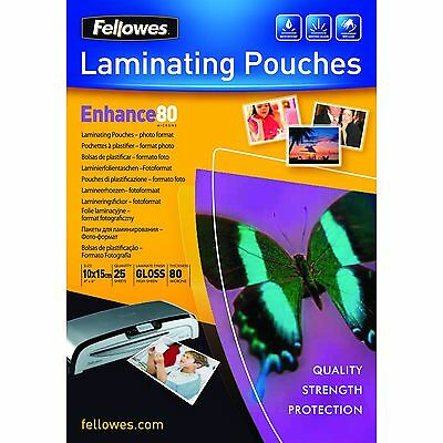Fellowes Enhance 10x15cm 80 Micron Glossy Laminating Photo Pouches (Pack of 25)