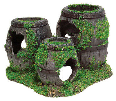 Sunken Barrels with Moss Aquarium Ornament Fish Tank Decoration