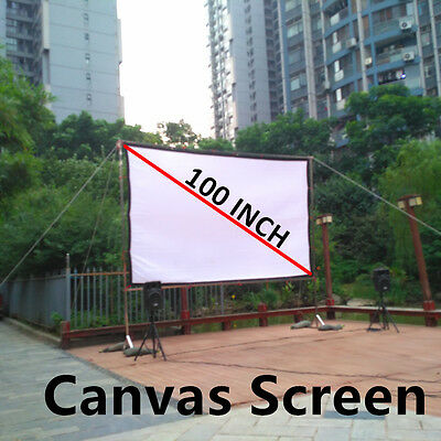 Projector Screens 100 inches Canvas Ceiling Wall Mount Home Theater Fabric 16:9