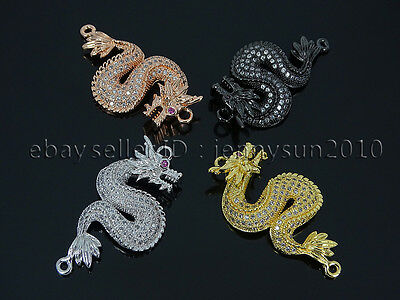 Clear Zircon Gemstones Pave Dragon Bracelet Connector Charm Beads Silver Gold