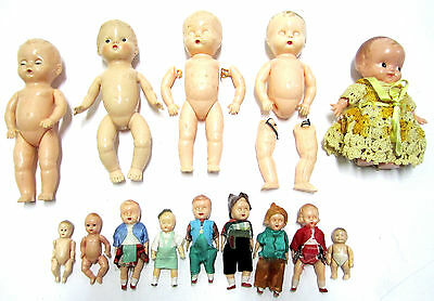 Lot Vtg Celluloid Plastic Dolls Jointed Sleepy Eyes Ideal Renwal Irwin Kewpie