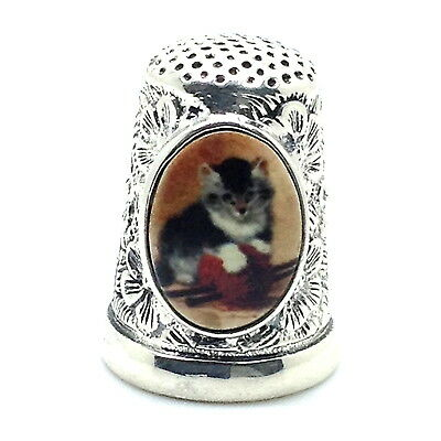Victorian Style Thimble With Enamel Kitten And Embossed Flower Sterling Silver
