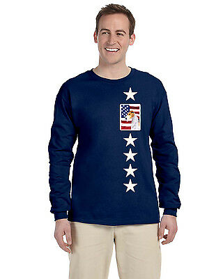 USA American Flag with Fox Terrier Long Sleeve Blue Unisex Tshirt Adult Large