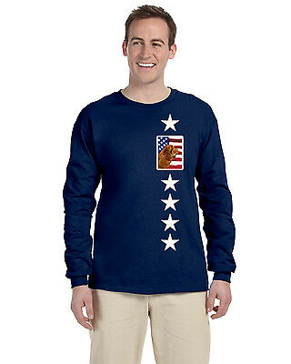 USA American Flag with Sussex Spaniel Long Sleeve Blue Unisex Tshirt Adult Small