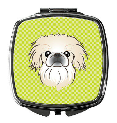 Carolines Treasures  BB1283SCM Checkerboard Lime Green Pekingese Compact Mirror