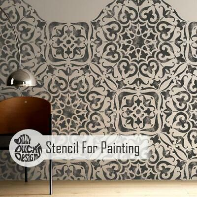 Furniture Wall Floor Craft Stencil MYSURU Indian Moroccan Tile Stencil