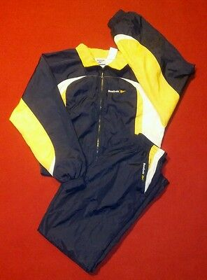Vintage REEBOK navy blue SPORT Nylon full TRACKSUIT pants & jacket Womens M euc