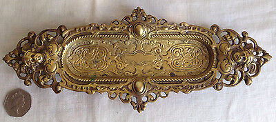 """Antique Brass Valet Tray Ornate Figural Made in Italy 10.5"""" X 4 1/8"""""""