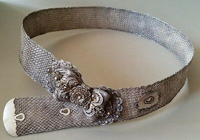 RARE ANTIQUE ORIGINAL OTTOMAN filigree SILVER hand-knitted BELT 19th century