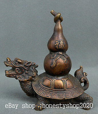 "5"" Chinese Bronze Fengshui Dragon Tortoise Fu Word Turtle Bottle Gourd  Statue"