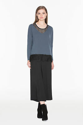 TWINSET Maglia Donna Lana Righe Contrasto Top Pizzo NA53DT