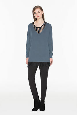 TWINSET Maglia Donna Over Lana Mélange Top Lungo Pizzo NA53DU