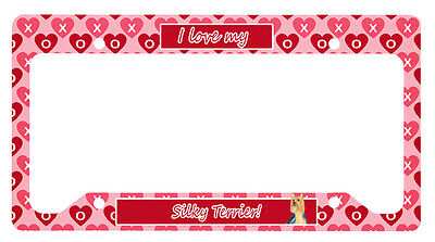 Silky Terrier Valentine's Love and Hearts License Plate Frame