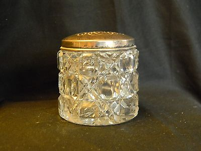 ANTIQUE CUT CRYSTAL GLASS JAR WITH STERLING SILVER LID - w/mono