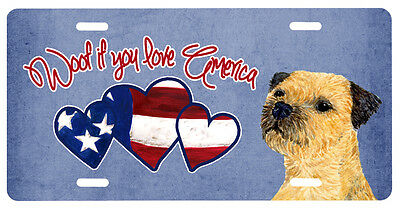 Woof if you love America Border Terrier License Plate