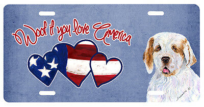 Woof if you love America Clumber Spaniel License Plate