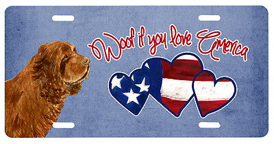 Woof if you love America Sussex Spaniel License Plate