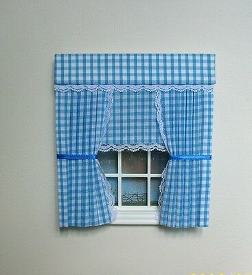 Dolls House Curtains Baby Gingham With Blind