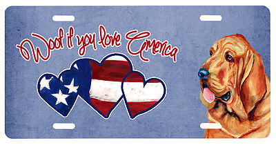 Carolines Treasures  LH9528LP Woof if you love America Bloodhound License Plate
