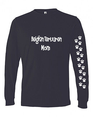 Belgian Tervuren Mom Tshirt Ladies Cut Blue Long Adult Large