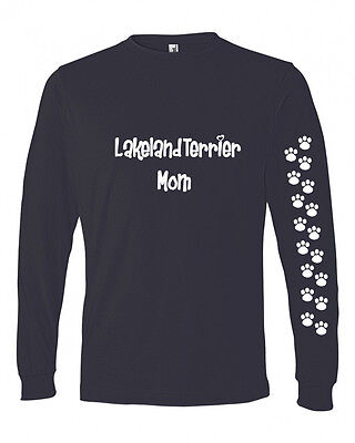 Lakeland Terrier Mom Tshirt Ladies Cut Blue Long Adult Medium