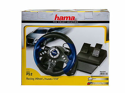 "Hama Racing Wheel PS2 ""Thunder V18"" Lenkrad mit Gaspedal für Sony Playstation 2"