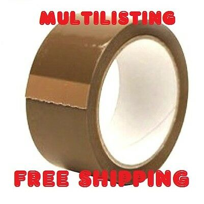 STRONG BIG ROLLS OF BUFF BROWN PACKAGING PARCEL TAPE 48mm x 66m  NEW UK STOCK