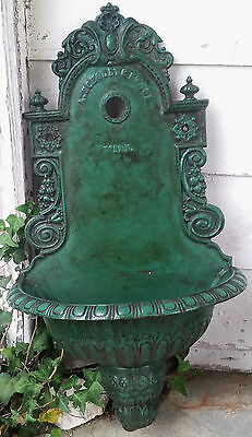 "19th cVictorian Rococo cast iron wall fountain, basin, Scholly & Stahl,Vien,34""t"