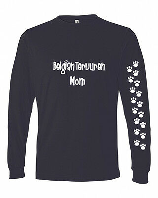 Belgian Tervuren Mom Tshirt Ladies Cut Blue Long Adult Small