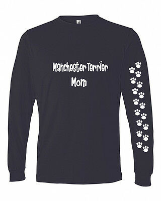 Manchester Terrier Mom Tshirt Ladies Cut Blue Long Adult Small