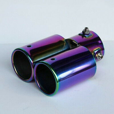Car Twin Stright Exhaust Pipe Rear Tail Muffler Stainless Steel Universal