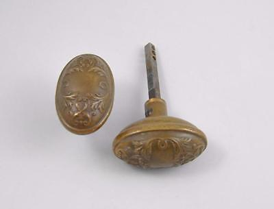 Pair Of Antique Victorian Art Nouveau Style Brass Oval Door Knobs