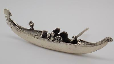 Vintage Solid Silver Venetian Gondola Boat Miniature - Tested - Made in Italy