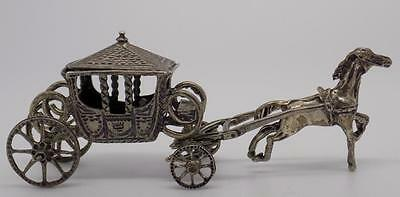 Vintage Solid Silver Antique Carriage Miniature - Dollhouse - Stamped - Italian