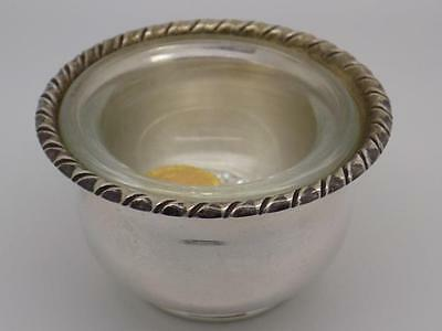 Vintage Solid Sterling Silver 925 Mustard Pot with Glass Pot - Stamped - Italian