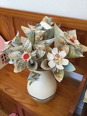 map style paper flowers handmade