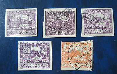 Czechoslovakia 1919 STAMPS LOT OF 5 CUTOUTS USED