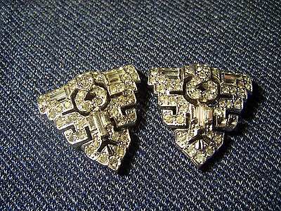 Pair of Authentic Vintage Art Deco Silver Metal and Rhinestone Dress Clips EUC