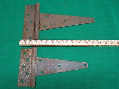 Lot of 2 large vintage rust barn door/gate hinge. Rustic farm find.