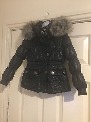 Girls River Island Black Coat Jacket School Parka Age 3 years Fur Collar Hood
