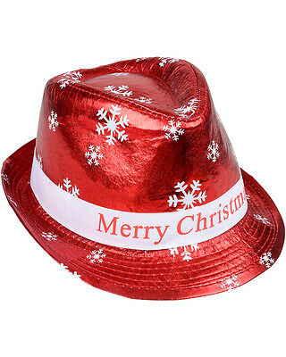 Adults Merry Christmas Winter Snowflake Red Fedora Hat Costume Accessory