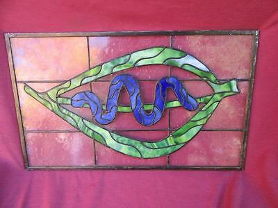 A Vintage 12 By 21 Art Glass Stained Glass Hanging Display Window....